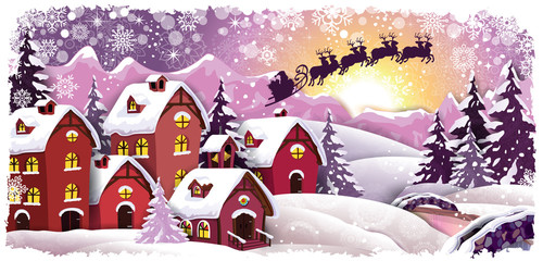 Mountain cottage snowy at Christmas Landscape with Santa Claus and Sled-Transparency blending effects and gradient mesh-EPS 10