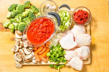 fresh raw ingredients on the chopping board