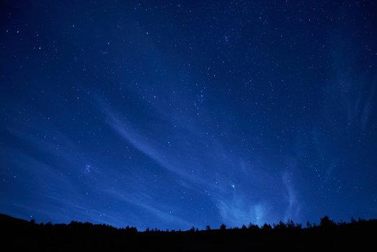 Blue dark night sky with many stars