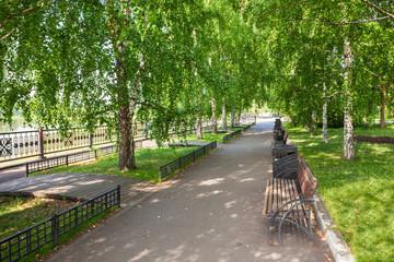 Yenisei river embankment park