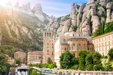 Montserrat Monastery, Catalonia, Spain. Santa Maria de Montserrat is a Benedictine abbey located on the mountain of Montserrat.