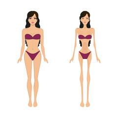 Vector illustration female anorexia. Women bulimia