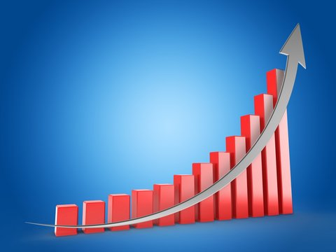 3d illustration of red charts over blue background with silver arrow up