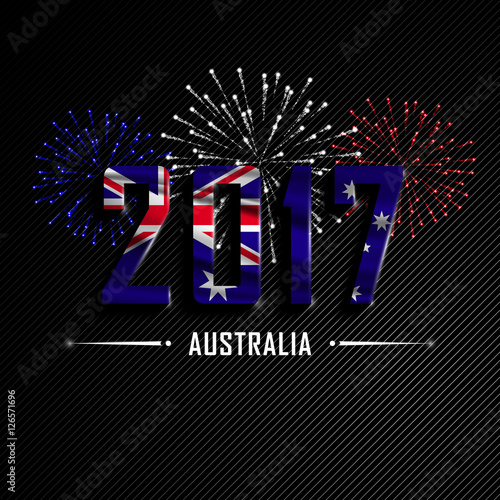 happy new year and merry christmas wavy flag of australia colorful fireworks beautifully