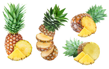 Set of pineapples isolated on white background