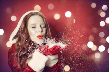 Liebe Weihnachten Hintergrund Frau