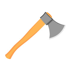 Realistic axe with grey metal part and wooden handle. On the blade chipped. Vector image. Modern style.