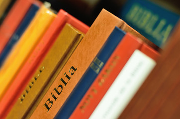 Bible on the shelf of book for education