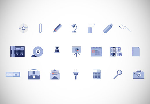36 Light Blue Business and Office Supply Icons