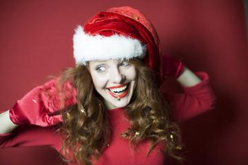 freudige Frau weihnachten
