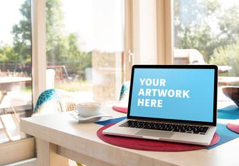 Laptop on Kitchen Window Mockup