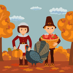 Thanksgiving day children apples and turkey vector illustration. Boy girl in traditional clothes template.
