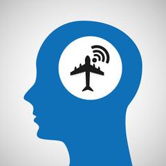 silhouette head airport wifi icon vector illustration eps 10