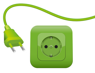 Green plug and socket - clean eco power - green energy- SCHUKO connector system