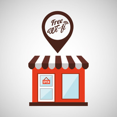 shopping store free wifi vector illustration eps 10