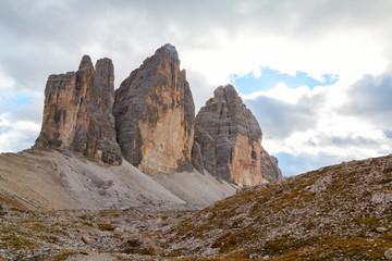 Tre Cime di Lavaredo in beautiful surroundings in the Dolomites in Italy, Europe (Drei Zinnen)