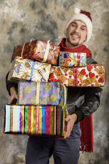 Happy Santa Claus with gifts