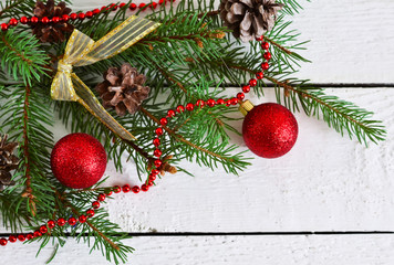 Christmas background - fir with cones and balls