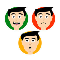 Avatars with emotions: positive, anxious and negative. Vector isolated image. The style flat. The color of the traffic light: green, yellow, red. Unique works for Your business.