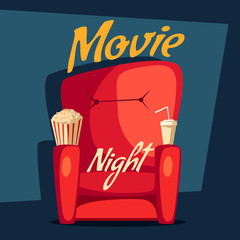 Movie night. Home cinema watching. Cartoon vector illustration
