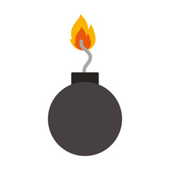 explosive bomb with fire flame icon over white background. vector illustration