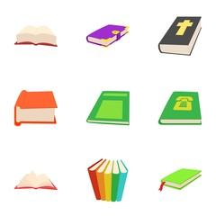 Education book icons set. Cartoon illustration of 9 education book vector icons for web