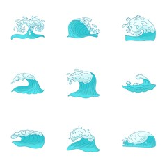 Wave icons set. Cartoon illustration of 9 wave vector icons for web