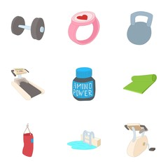Gym icons set. Cartoon illustration of 9 gym vector icons for web