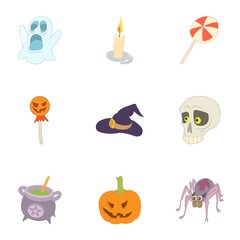 Halloween icons set. Cartoon illustration of 9 halloween vector icons for web