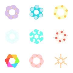Artificial flowers icons set. Cartoon illustration of 9 artificial flowers vector icons for web