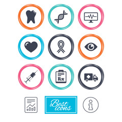 Medicine, healthcare and diagnosis icons. Tooth, syringe and ambulance signs. Dna, awareness ribbon symbols. Report document, information icons. Vector