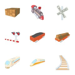 Railroad icons set. Cartoon illustration of 9 railroad vector icons for web