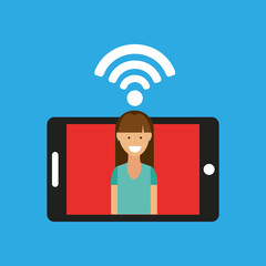 woman smartphone internet wifi free icon vector illustration eps 10
