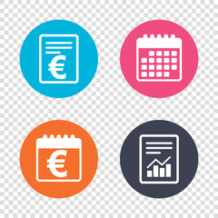 Report document, calendar icons. Euro sign icon. EUR currency symbol. Money label. Transparent background. Vector