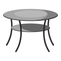 Round table icon. Gray monochrome illustration of tablevector icon for web design