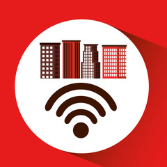 city downtown wifi connection design vector illustration eps 10