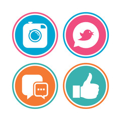 Hipster photo camera icon. Like and Chat speech bubble sign. Bird symbol. Colored circle buttons. Vector