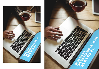 User with Laptop and Coffee Mockup 1
