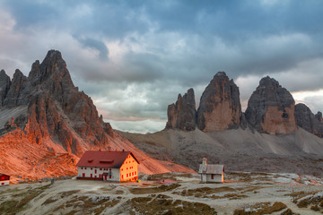 Tre Cime di Lavaredo in beautiful surroundings in the Dolomites in Italy, Europe (Drei Zinnen)