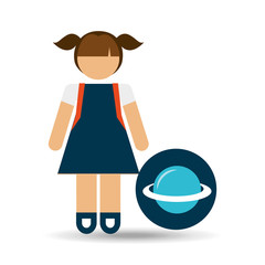 girl uniform school science physics icon vector illustration eps 10