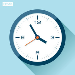 Clock icon in flat style, timer on color background. Vector design element
