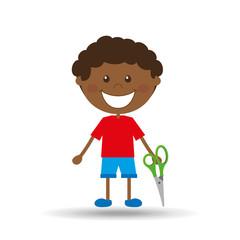 happy boy student scissors graphic vector illustration eps 10