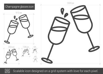 Champagne glasses line icon.