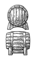Wooden barrel set engraving vector illustration