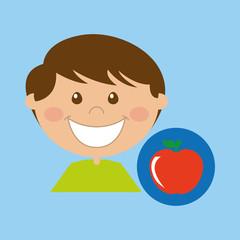 boy cartoon school apple icon design vector illustration eps 10
