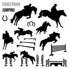 Equestrian Jumping Race Horse Agility with Poles Silhouette Set