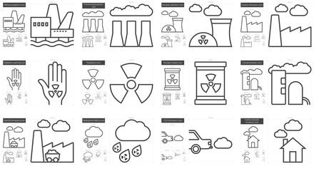 Ecology biohazard line icon set.
