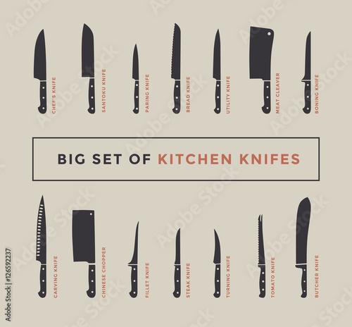 """Kitchen Knife Set Names: """"Big Set Of Kitchen Knives With Names. Vector Illustration"""