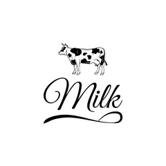 Cow Milk Farm Logo design vector template Linear style.