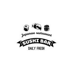 sushi banner, label logo isolate on white